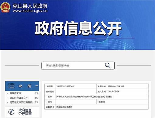 克山县农村集体产权制度改革工作实施方案-官网截图